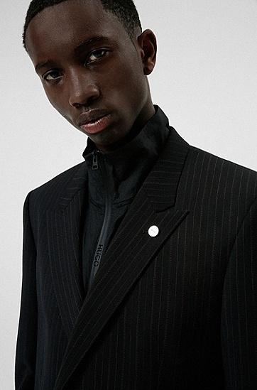 高性能弹力面料双排扣修身夹克,  006_Black
