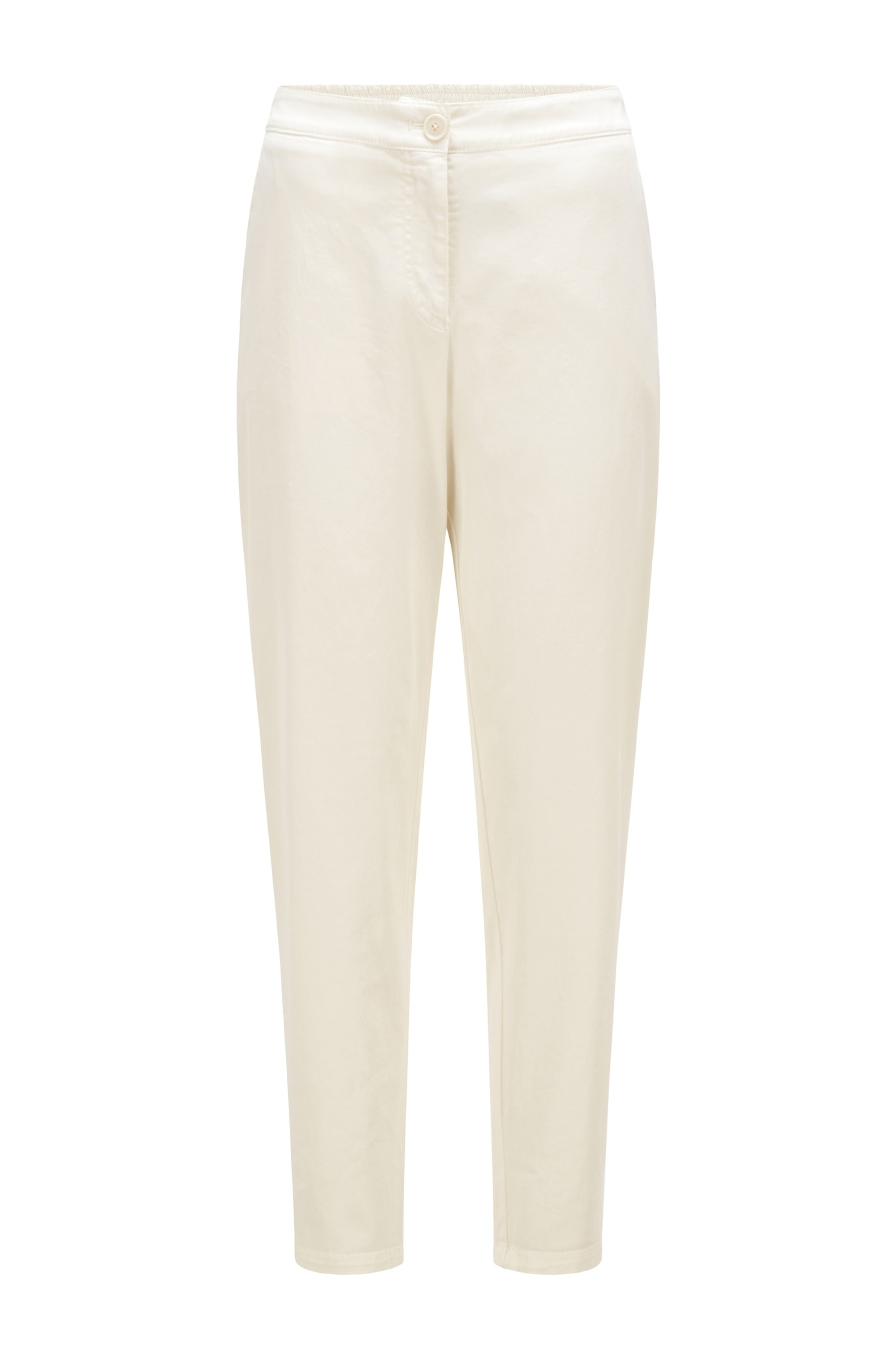 Trousers in organic-cotton-blend twill, White