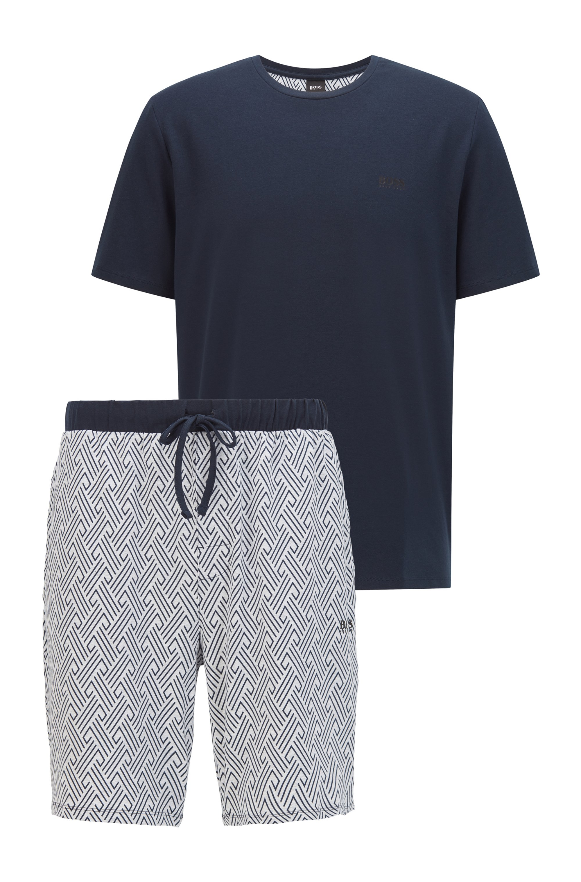 Jersey pyjama van stretchkatoen met logo's, Lichtgrijs