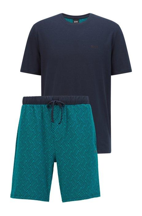 Jersey pyjama van stretchkatoen met logo's, Lichtblauw
