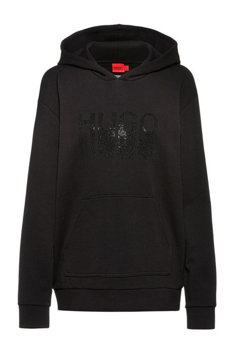 Hooded sweatshirt in French terry cotton with rhinestone logo, Black