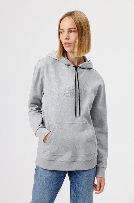 Sweater met capuchon van katoenen sweatstof met logo van strassteentjes, Grijs