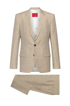Slim-fit suit in linen-blend chambray, Beige