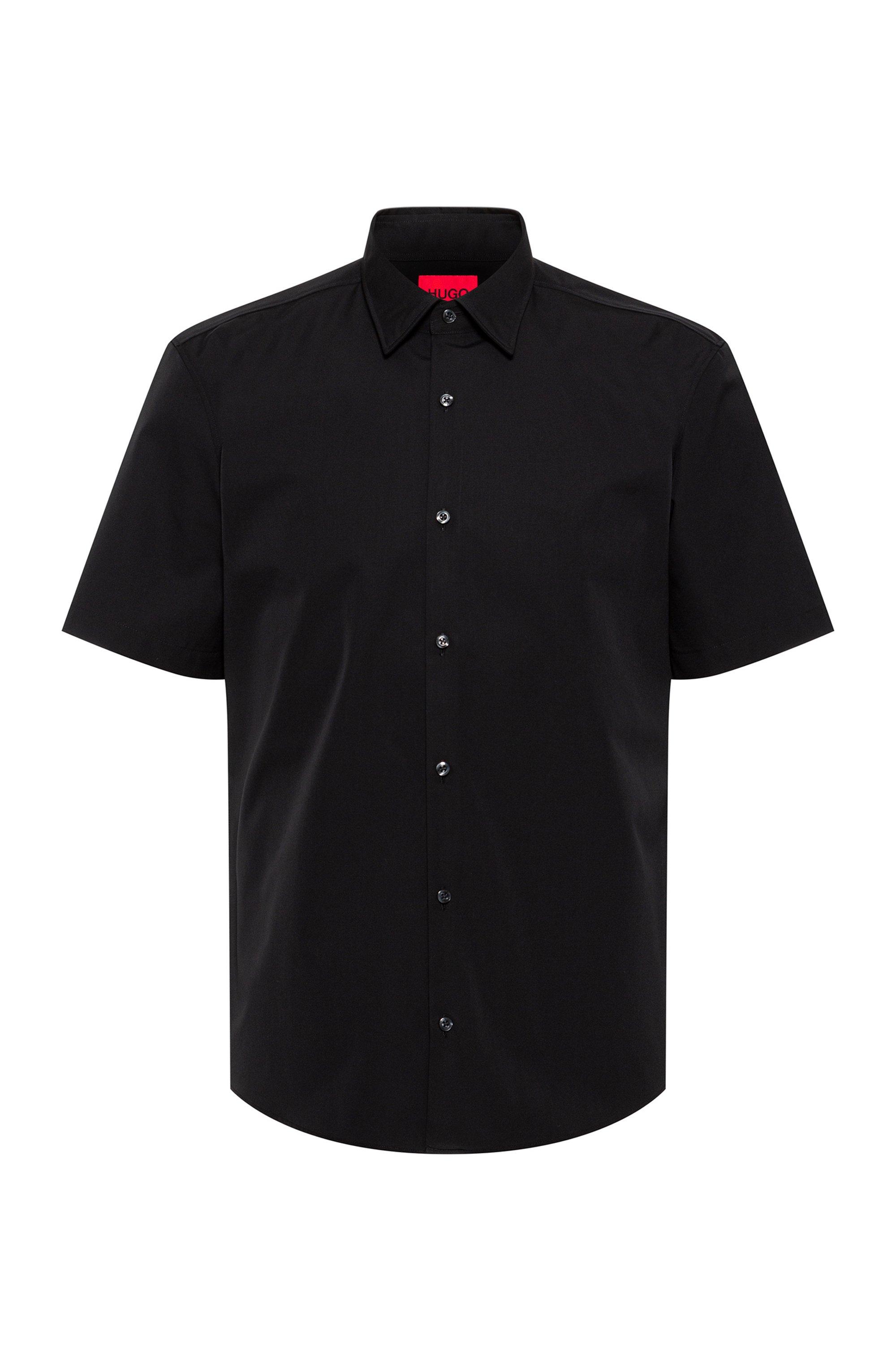 Chemise Slim Fit à manches courtes en popeline de coton, Noir