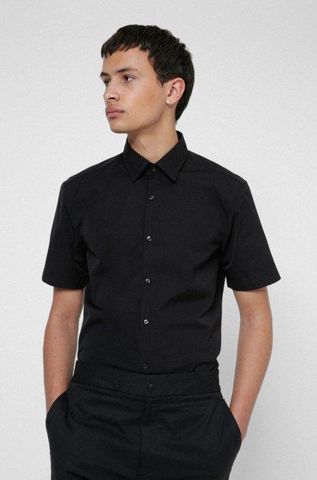 Short-sleeved slim-fit shirt in cotton poplin, Black