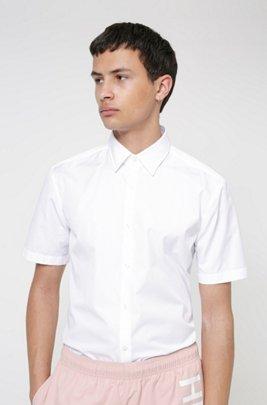 Chemise Slim Fit à manches courtes en popeline de coton, Blanc
