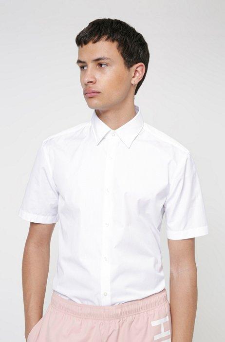 Short-sleeved slim-fit shirt in cotton poplin, White