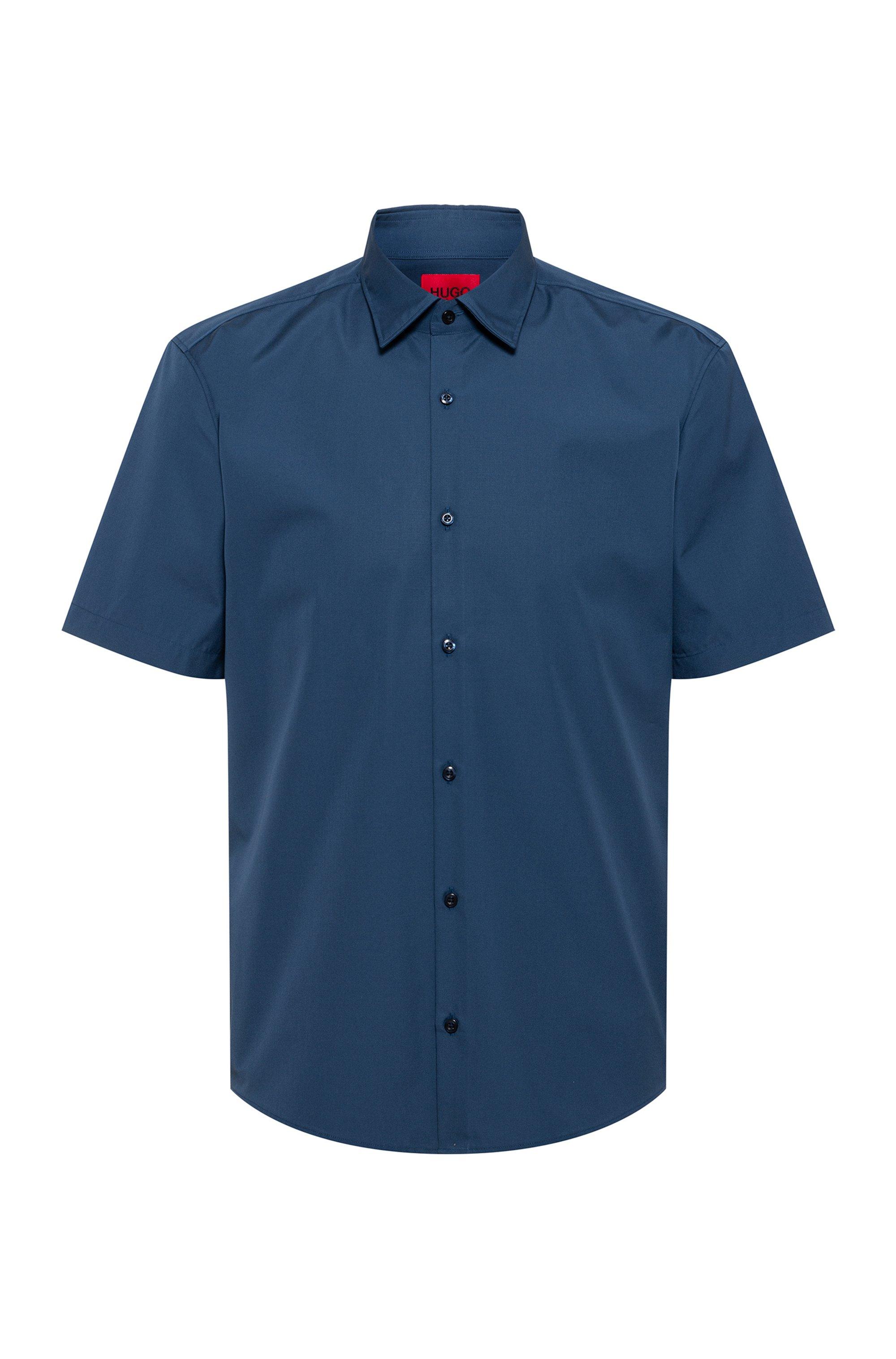 Short-sleeved slim-fit shirt in cotton poplin, Dark Blue