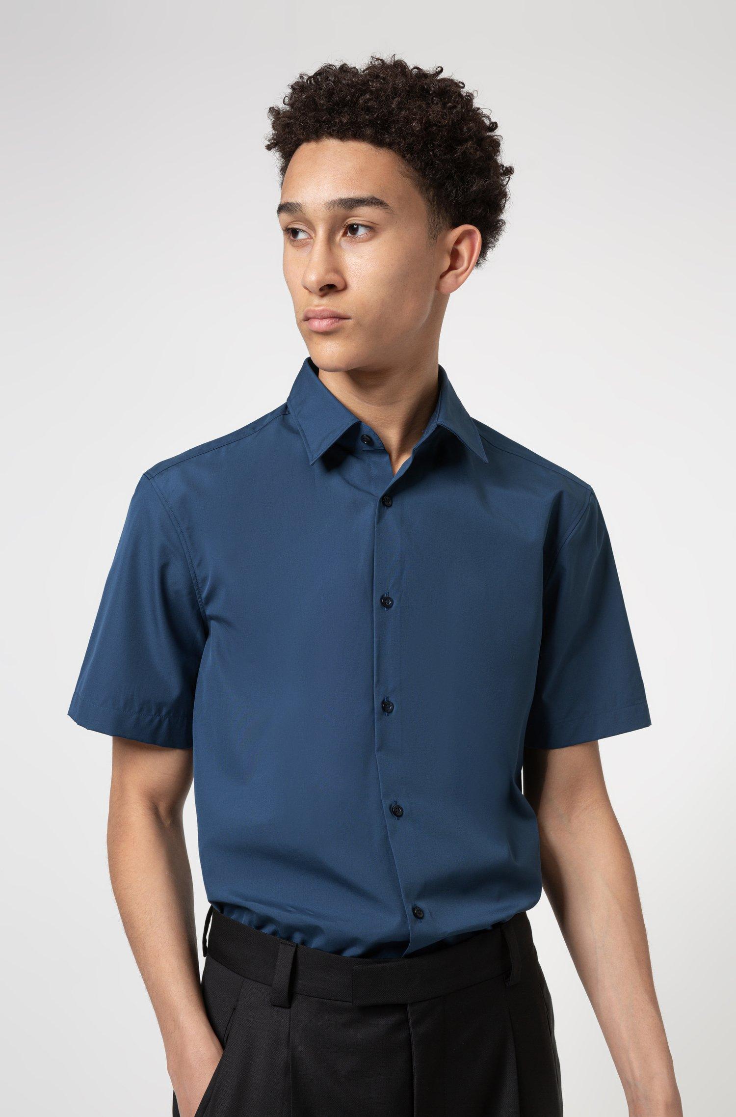 Chemise Slim Fit à manches courtes en popeline de coton, Bleu foncé