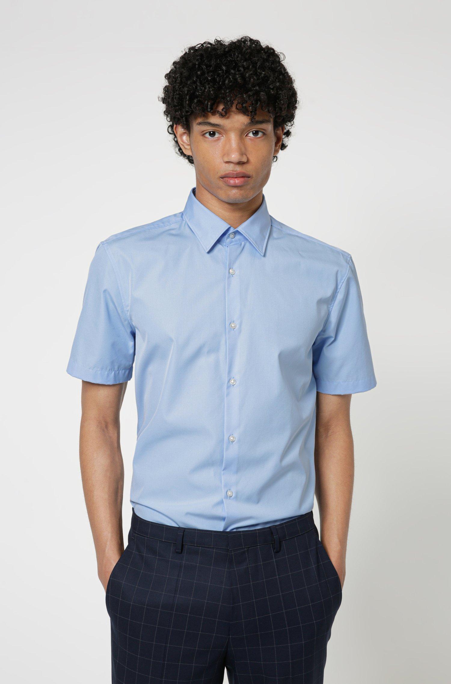 Short-sleeved slim-fit shirt in cotton poplin, Light Blue