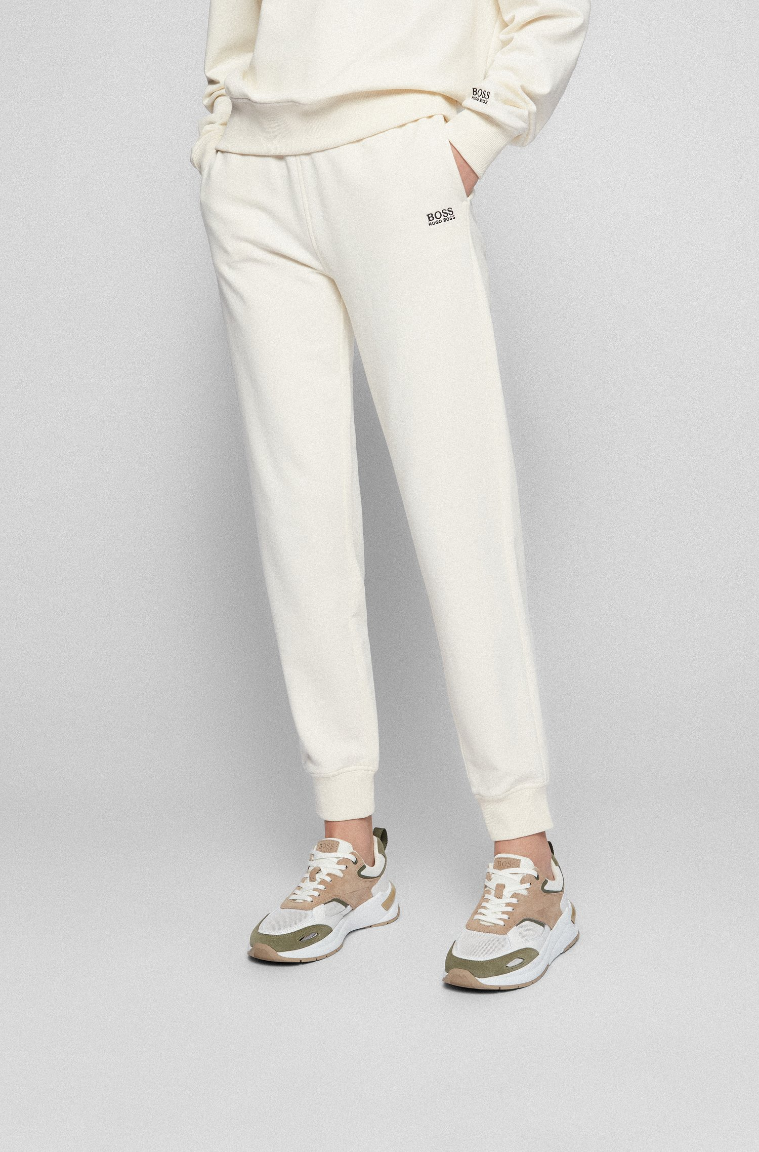 Regular-fit tracksuit bottoms in French terry cotton, White