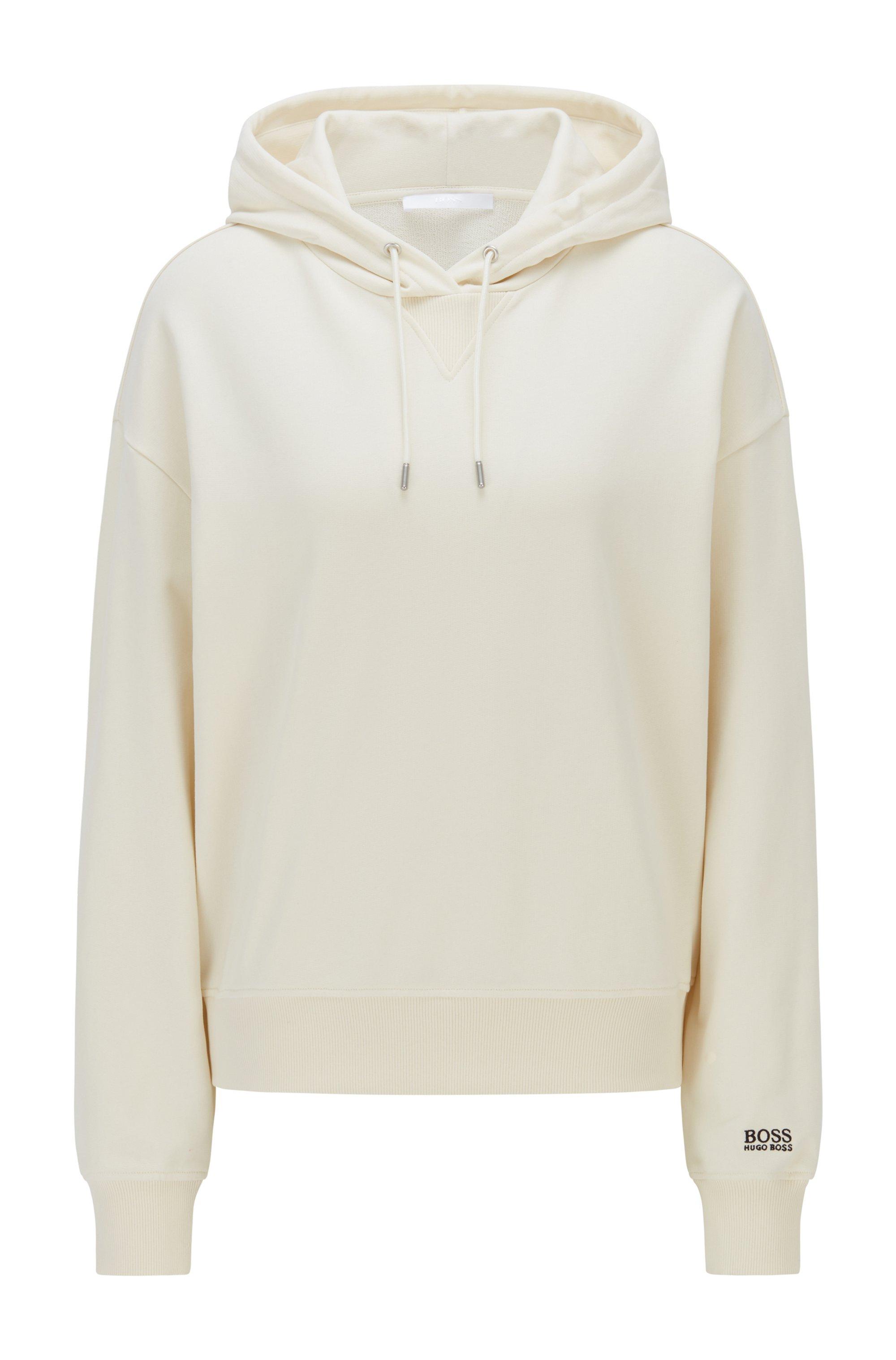 Kapuzen-Sweatshirt aus French-Terry-Baumwolle mit Logo am Ärmel, Weiß