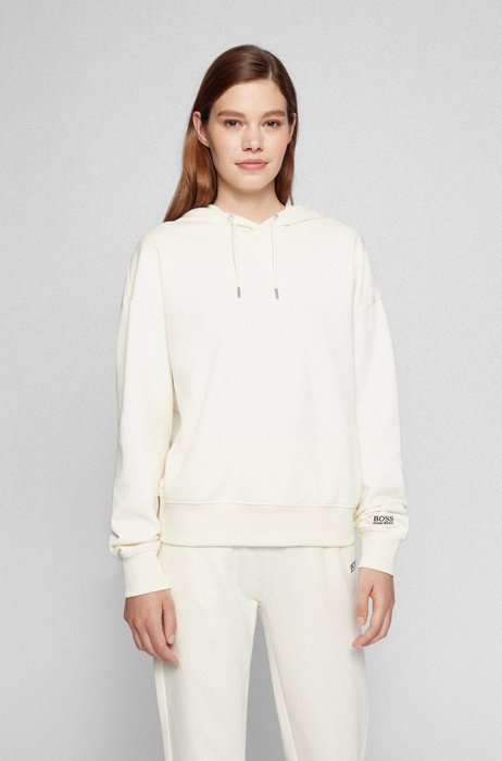Hooded sweatshirt in French-terry cotton with sleeve logo, White