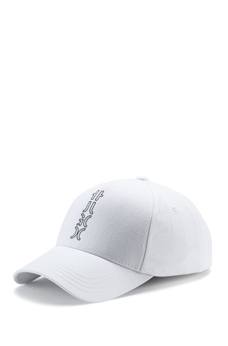 Cropped-logo cap in cotton twill, White