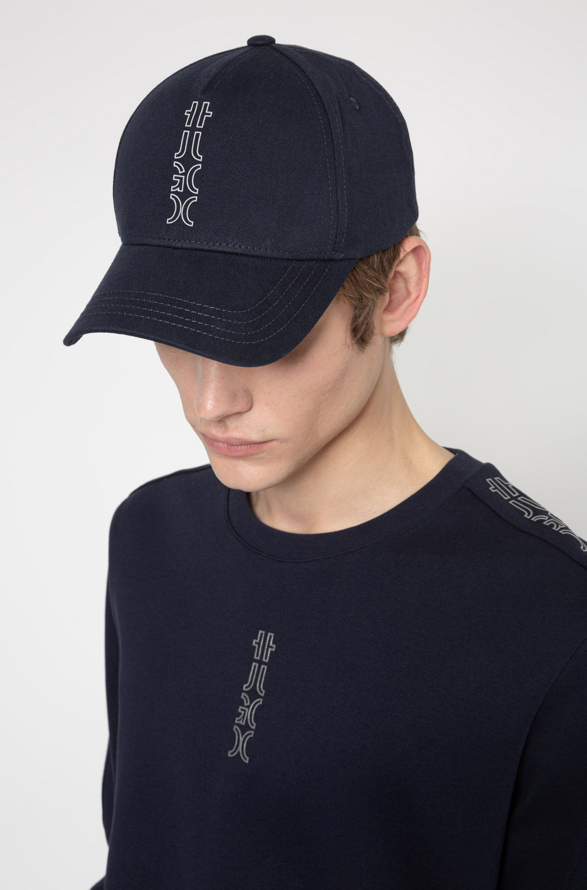 Cropped-logo cap in cotton twill