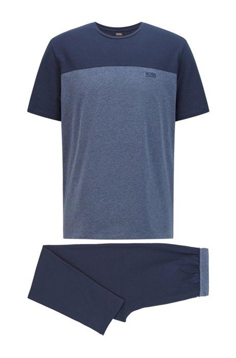Stretch-cotton pyjamas with colour-blocked T-shirt, Light Blue