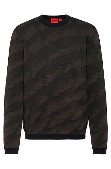 提花图案装饰棉质常规版型毛衣,  001_Black