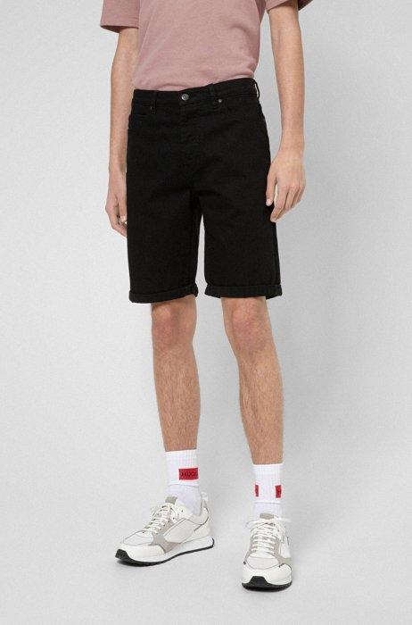 Tapered-fit shorts van diepzwart stretchdenim, Zwart