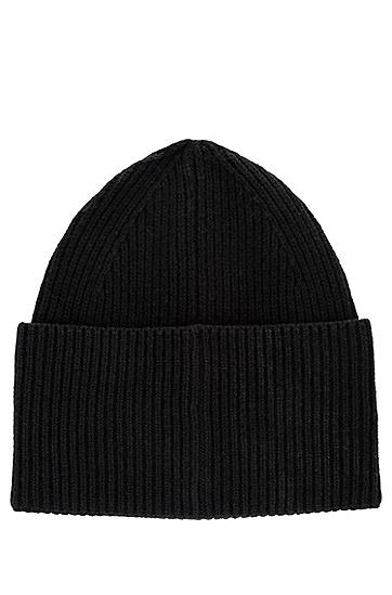 红色徽标标签羊毛混纺毛线帽,  001_Black