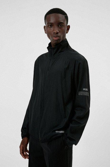 Sweat zippé Oversized Fit en tissu ripstop, Noir