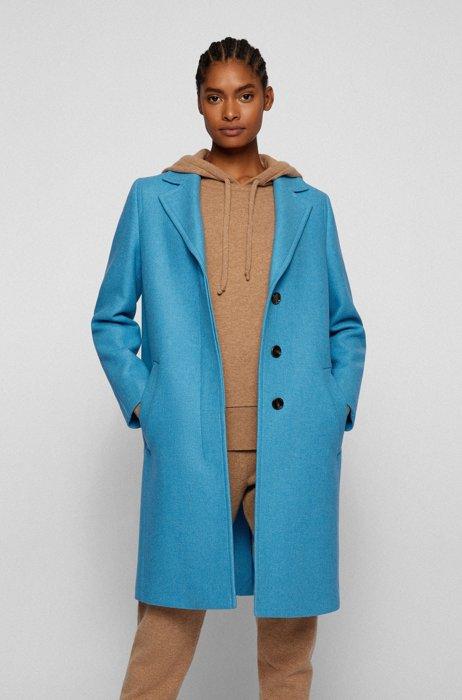 Mantel aus Woll-Mix mit Monogramm-Innenfutter, Blau