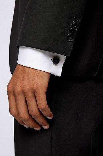 灰色珐琅蚀刻交织字母图案圆形袖扣,  021_Dark Grey