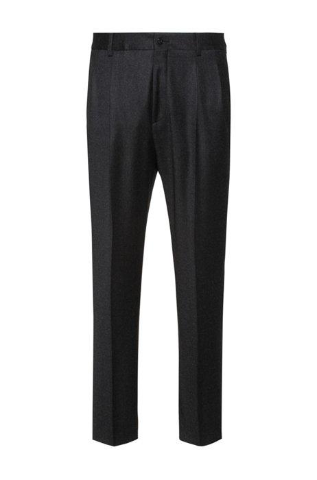 Extra-slim-fit trousers in stretch virgin wool, Dark Grey