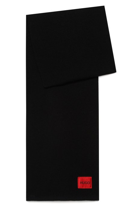 Wool-blend rib-knit scarf with red logo label, Black