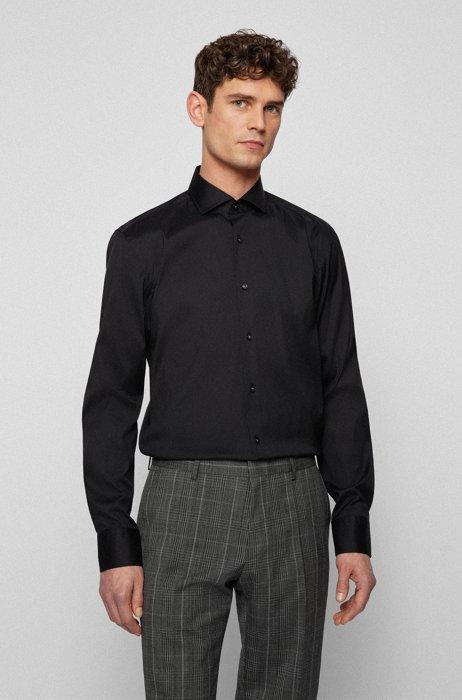 Slim-fit shirt in easy-iron cotton-blend poplin, Black