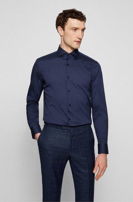 Slim-fit shirt in easy-iron cotton-blend poplin, Dark Blue