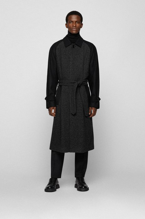 Relaxed-fit coat in patchworked fabrics with concealed closure, Dark Grey