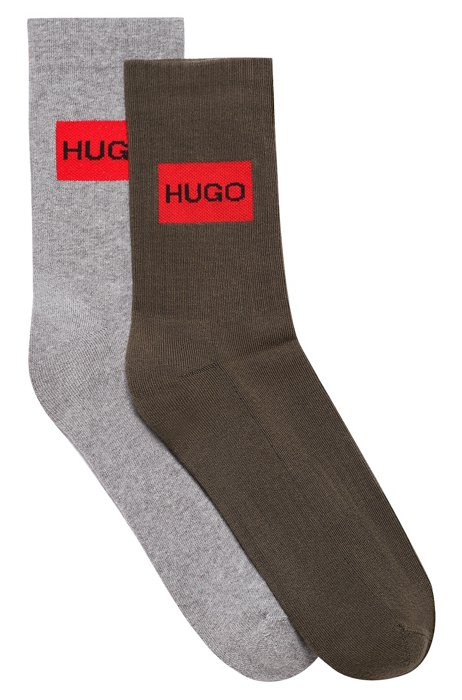 Two-pack of short socks with red logo, Light Green