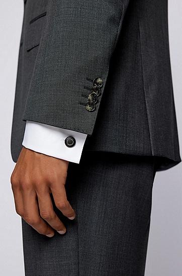 徽标环黑色哑光袖扣,  001_Black