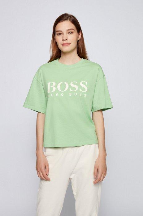 Oversized-fit logo T-shirt in organic cotton, Light Green
