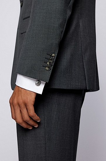 菱形图案不锈钢圆形袖扣,  040_Silver