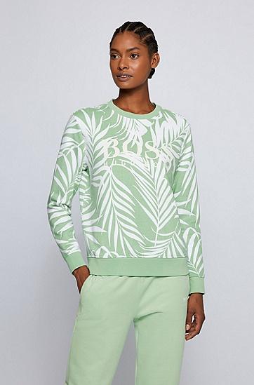 通体树叶图案徽标装饰运动衫,  972_多色