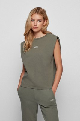 Relaxed-fit organic-cotton T-shirt with sleeveless styling, Dark Green