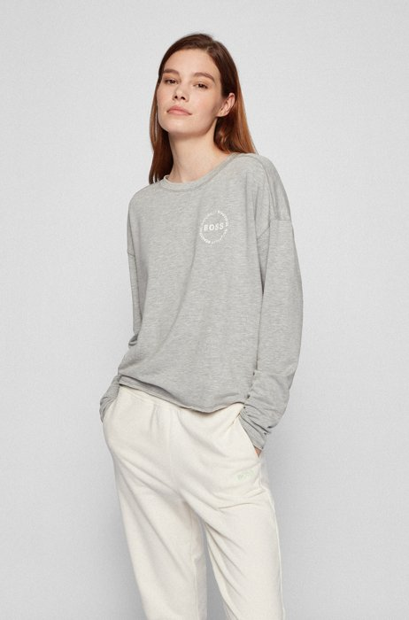 Long-sleeved T-shirt in lightweight terry, Silver
