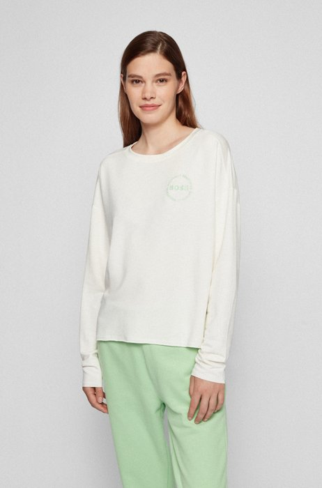Long-sleeved T-shirt in lightweight terry, White