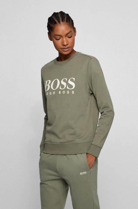 Logo sweatshirt in French-terry cotton, Dark Green