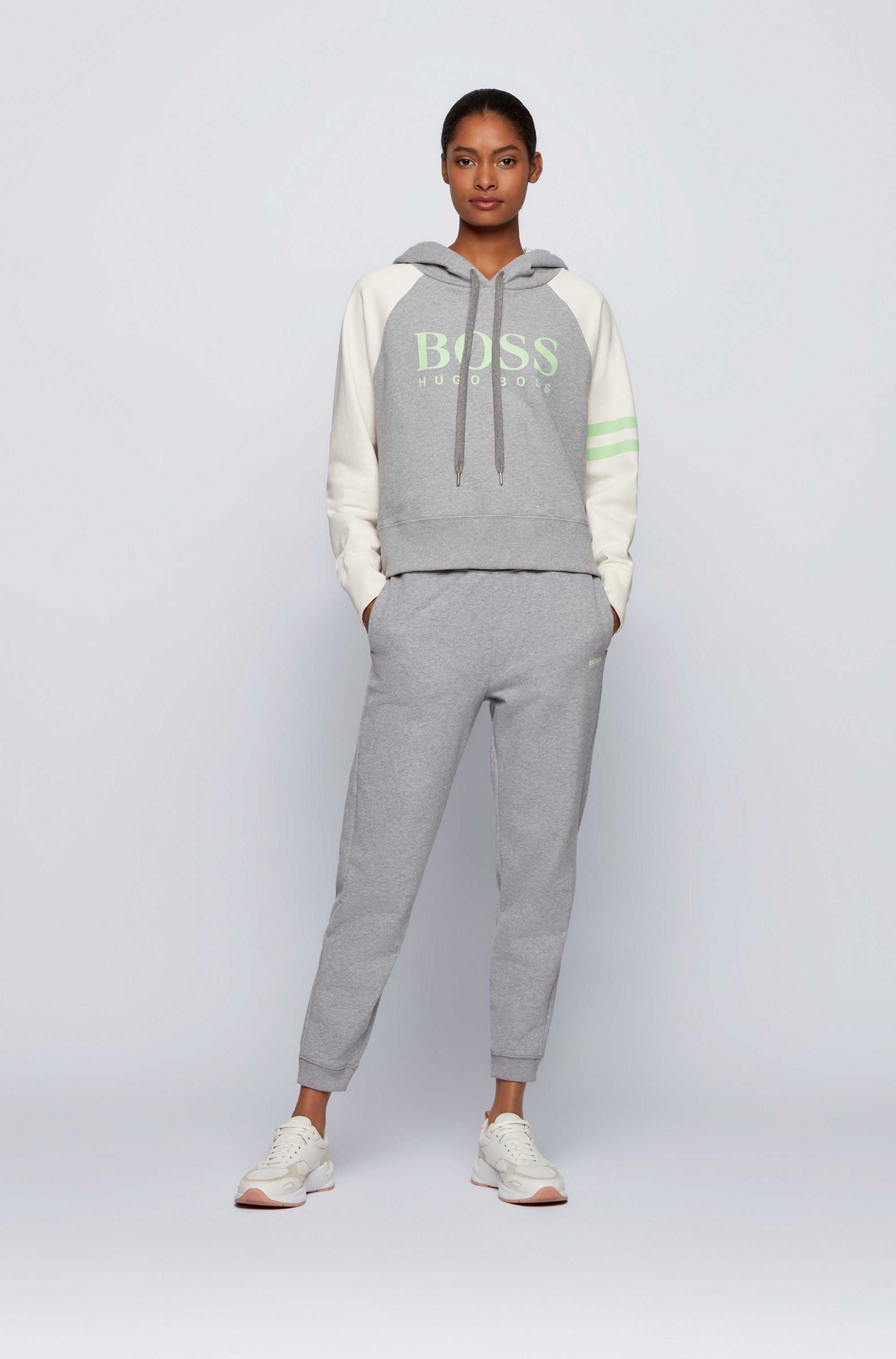 Regular-fit tracksuit bottoms in cotton-blend French terry