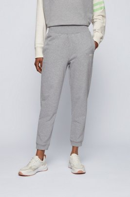 Regular-fit tracksuit bottoms in cotton-blend French terry, Silver