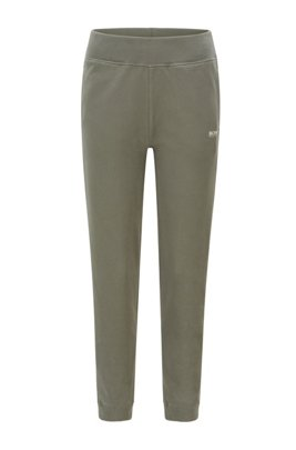 Regular-fit tracksuit bottoms in cotton-blend French terry, Dark Green