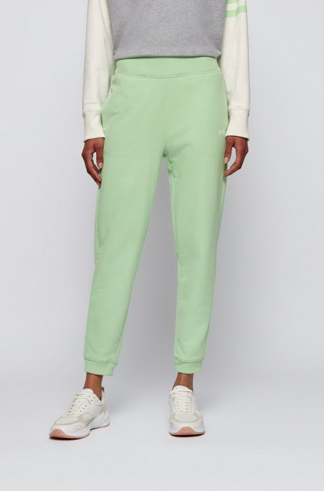 Regular-fit tracksuit bottoms in cotton-blend French terry, Light Green