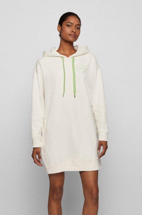 Long-length hooded sweatshirt in an organic-cotton blend, White