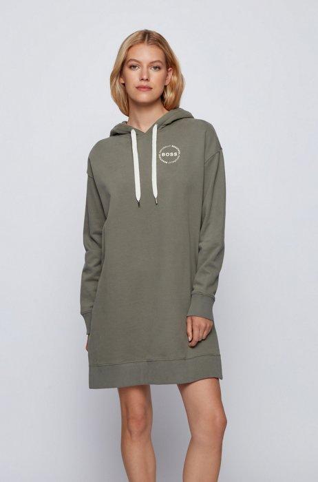 Long-length hooded sweatshirt in an organic-cotton blend, Dark Green