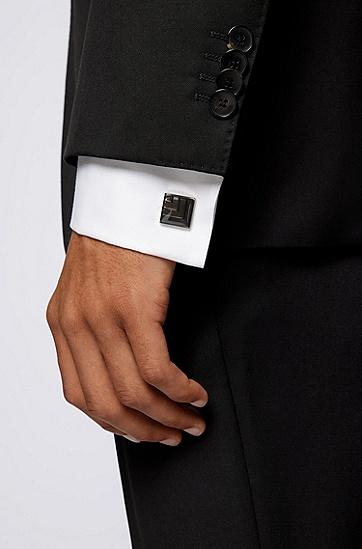 暗色珐琅方形袖扣,  021_Dark Grey