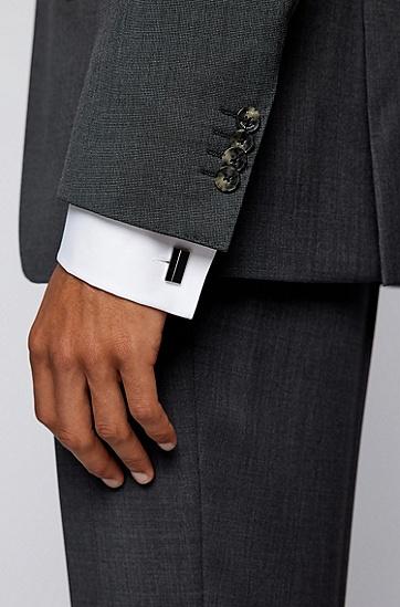蚀刻徽标装饰矩形袖扣,  001_Black