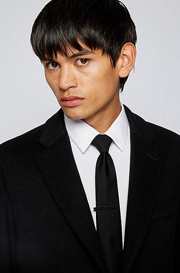 蚀刻徽标黑色条纹领带夹,  001_Black
