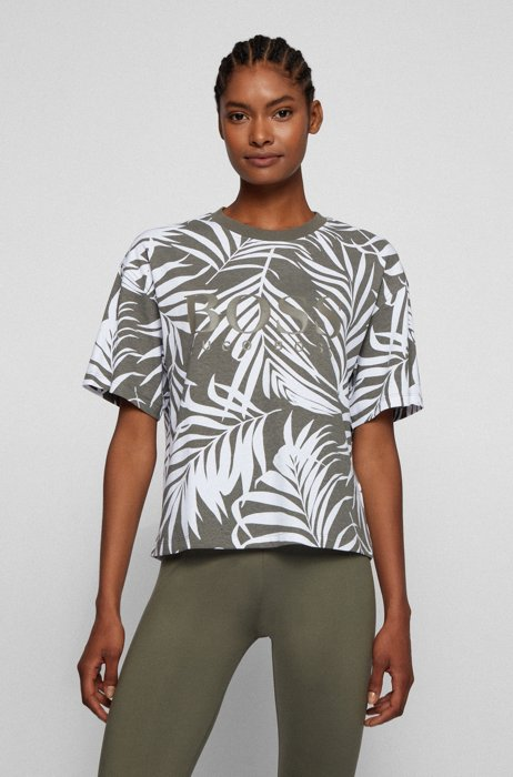 Collection-pattern logo T-shirt in organic cotton, Patterned